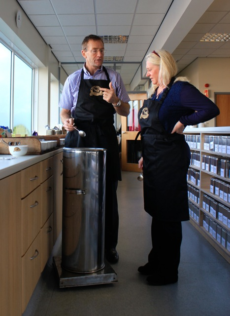 Lisa Geddes and Simon Smith in the tasting room at the Ringtons factory in Newcastle, England