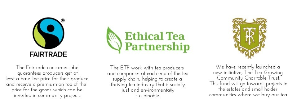 Logo of Fairtrade, Ethical Tea Partnership and The Tea Growing Community Chartable Trust.
