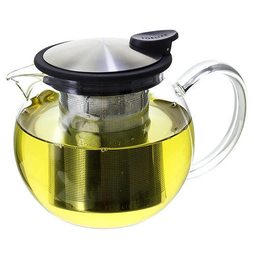 FORLIFE Glass Teapot with Basket Infuser, 25 oz.