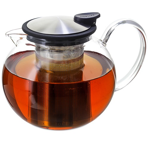 FORLIFE Glass Teapot with Basket Infuser, 38 oz.