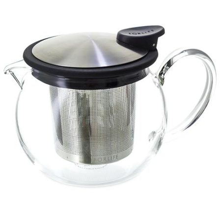 FORLIFE Glass Teapot with Basket Infuser, 15 oz.