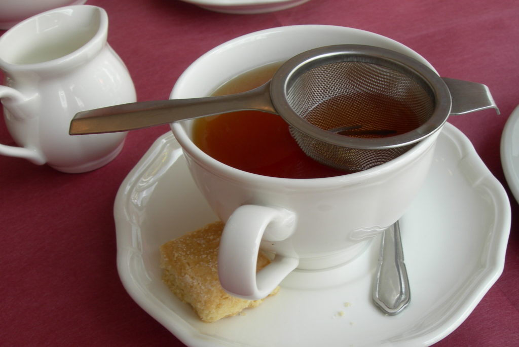 English tea in a small cup