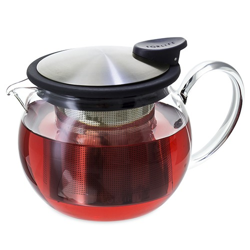 FORLIFE Glass Teapot with Basket Infuser, 15 oz